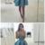 WDG0181,A-Line Deep V-Neck Sleeveless blue Satin Short Prom Dress