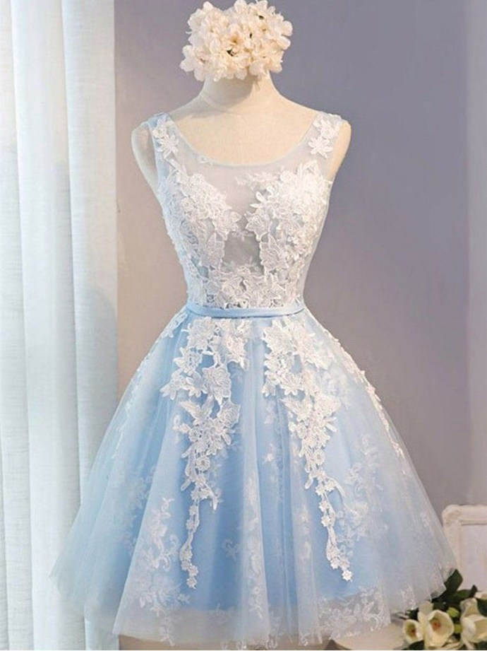 WDG0183,Cute Light Blue Lace A line Homecoming Dresses with Applique