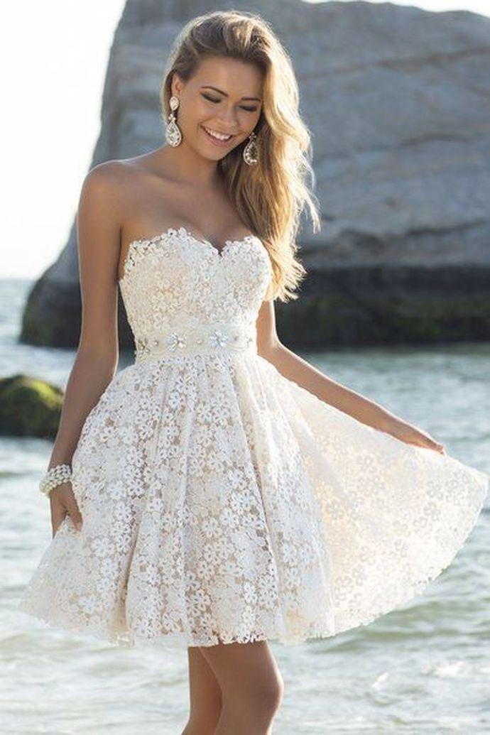 WDG0186,Princess Ivory Lace A line Sweetheart Homecoming Dresses