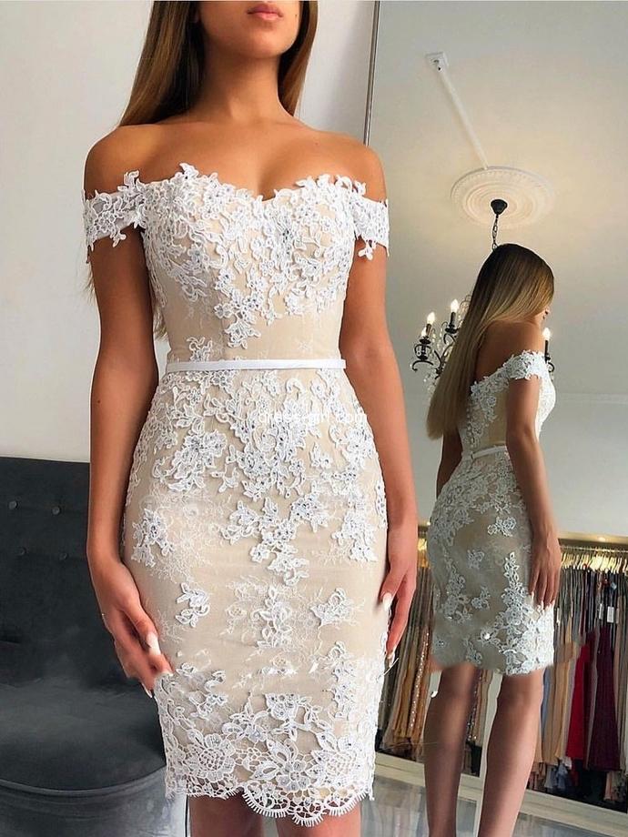 WDG0187,Sheath Off-shoulder Lace Appliques Sexy Short Homecoming Dresses