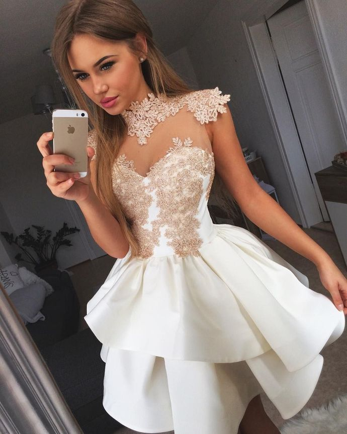 WDG0189,Cute White Short Prom Dress,Lace Applique Homecoming Dress