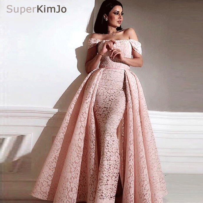 pink lace prom dresses detachable train off the shoulder short sleeve elegant