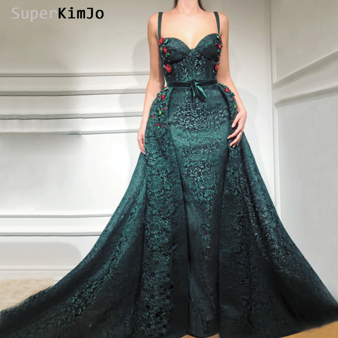 hunter green prom dresses 2020 spaghetti strap lace applique detachable train