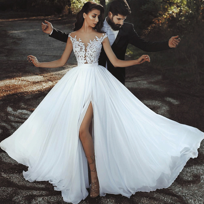 cheap chiffon beach wedding dresses for bride lace applique cap sleeve a line