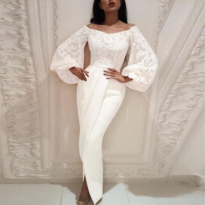 flare sleeve white evening dresses long mermaid lace applique modest elegant