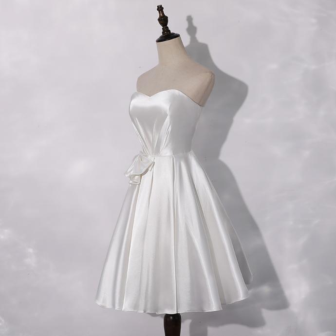 White Satin Sweetheart Short Party Dress, White Prom Dress Graduation Dress