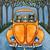 "16"" x 20"" The Autumn Road Trip Original Coffee Cat Folk Art Painting"