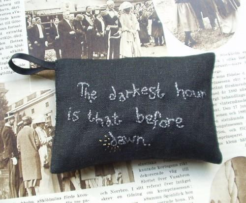 The darkest hour is that before dawn - Black linen lavender sachet with hand