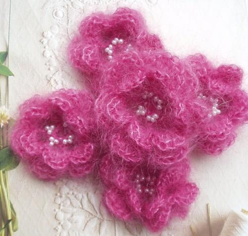 Pink Crocheted Flower Brooch in Mohair and Silk
