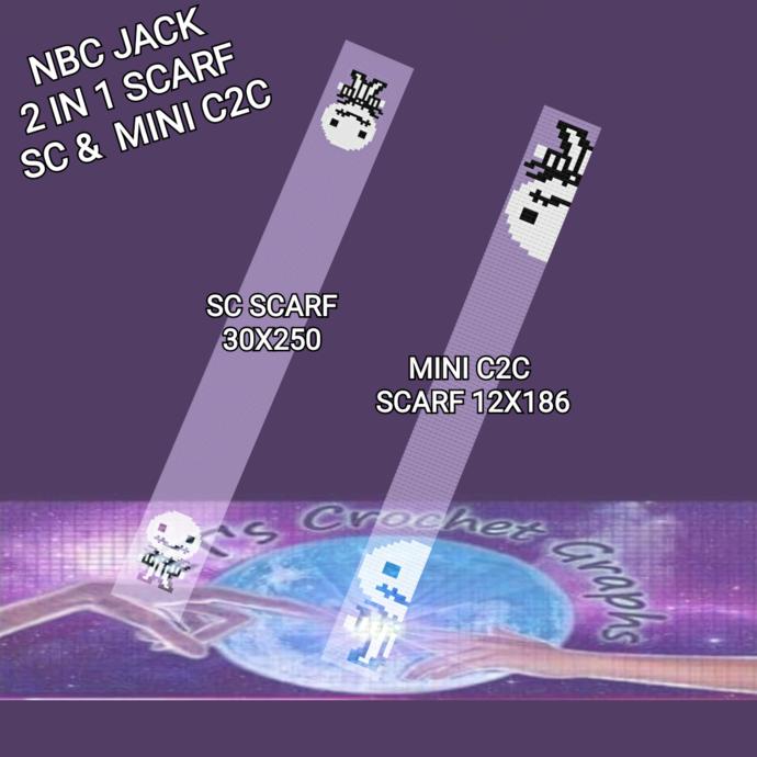 NBC Jack Mini Scarf - SC & Mini C2C includes Graph with Color block instructions