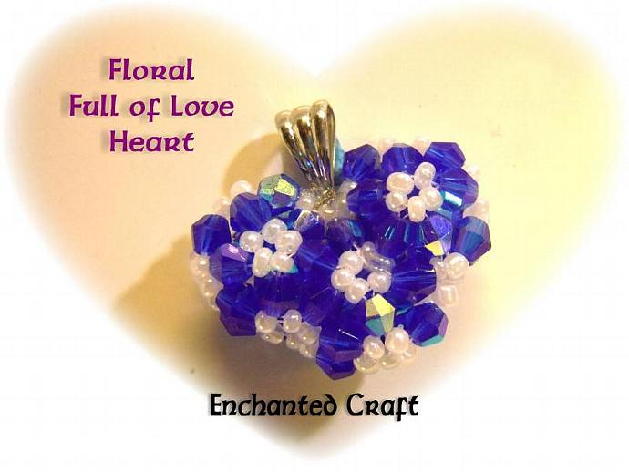 Floral Full of Love beaded celestial crystal heart necklace- Sapphire Blue Love