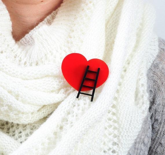 Reach Out Heart Brooch,Plexiglass Pin,Lasercut Acrylic,Gifts Under 25