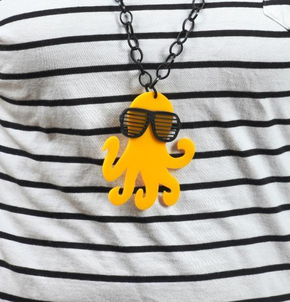 Hottie Octopus Necklace,Plexiglass Necklace,Lasercut Acrylic,Gifts Under 25
