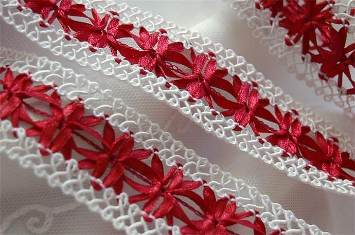 White French Picot Gimp with Inset Satin Ribbon Pattern Scarlet Red HOLIDAYS