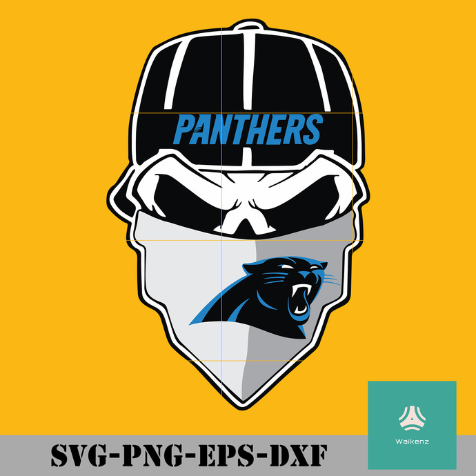 Panthers skull with mask logo svg, Panthers svg, Carolina Panthers svg, Panthers