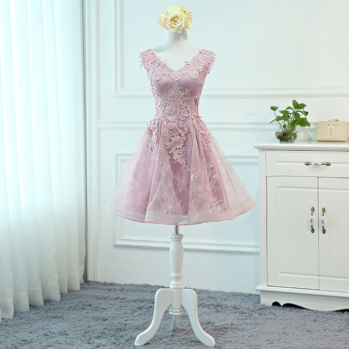 Pink Lace Knee Length V-neckline Party Dress, Lace Short Homecoming Dress