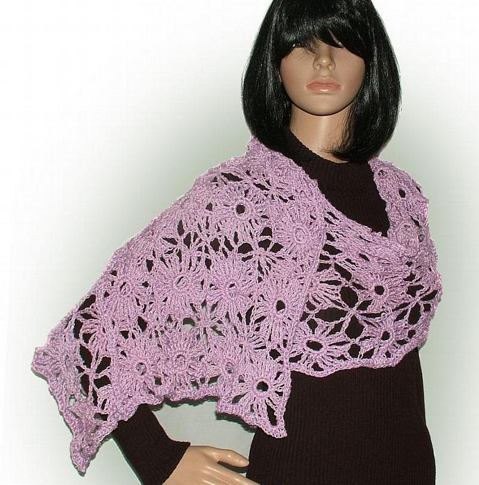 Crochet Lace motif pattern for scarf, shawl, wrap, vests & tops PDF Instant
