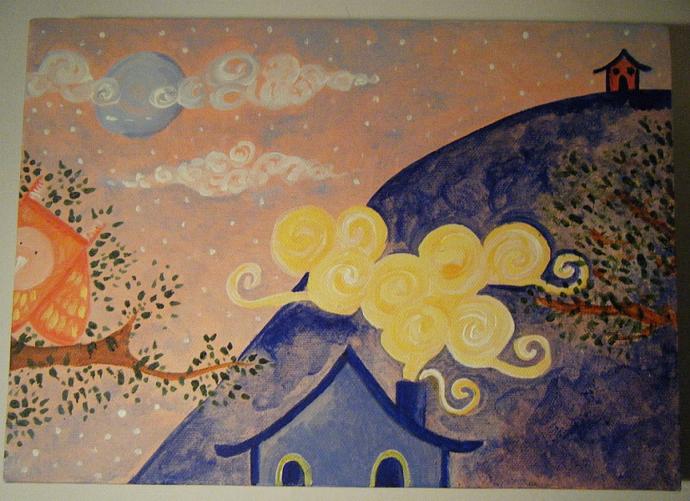 Peeking Owl - Original Painting