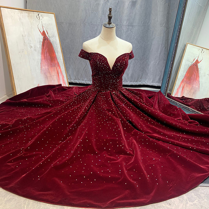 Off Shoulder Velvet Tea Length Party Dress, Velvet Wedding Party Dress