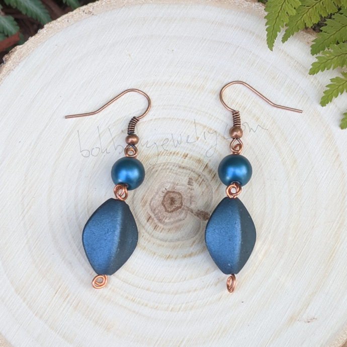 Handmade Denim Blue and Copper Earrings