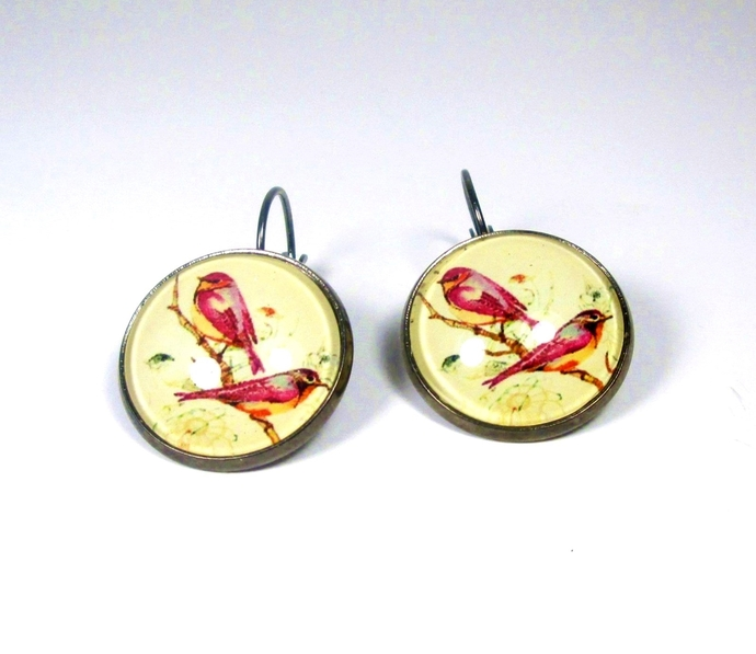 Sunny yellow earrings with raspberry pink birds, leverback earrings, summer