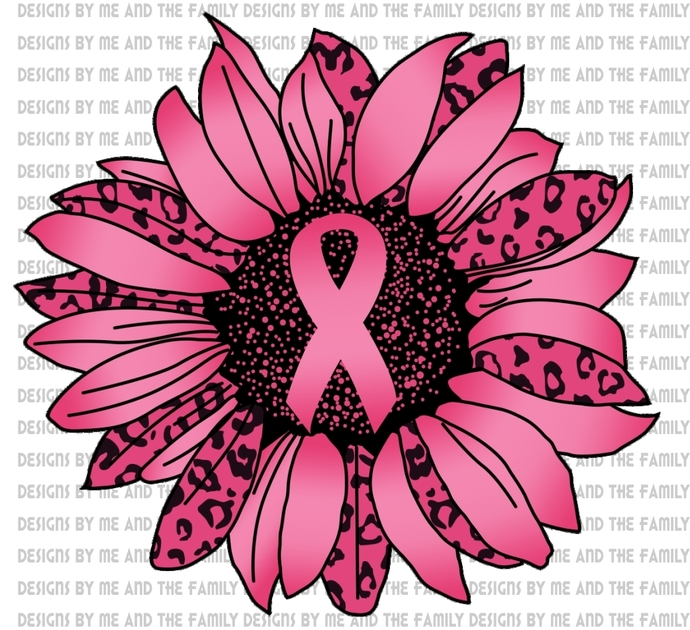 Pink sunflower cheetah,  October we wear pink, cancer awareness, cancer