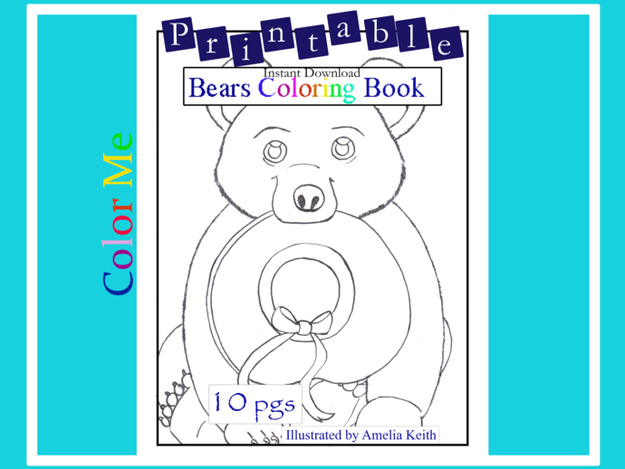 Printable_10 COLORING SHEETS_BEARS COLORING BOOK by Amelia Keith||For Kids and