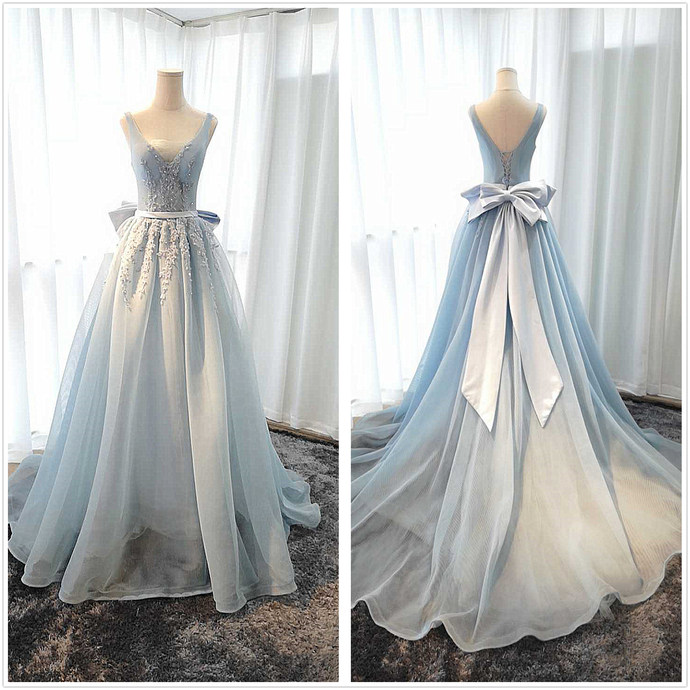 Blue V-neckline Tulle Long Party Dress, Tulle Evening Gown Prom Dress