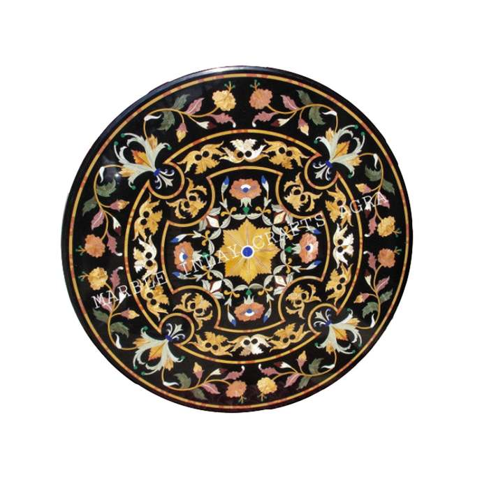 Round coffee table top marble inlay art pietradura living room furniture home