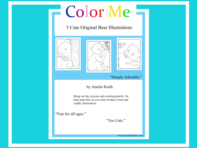 Printable_5 COLORING SHEETS_BEARS COLORING BOOK by Amelia Keith||For Kids and