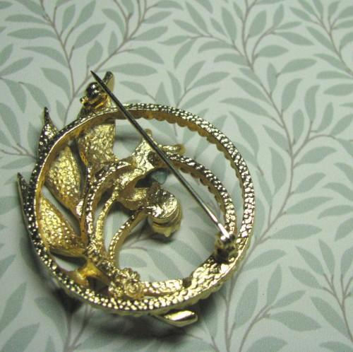 Sarah Coventry Golden Jade Garden 1960 Vintage Brooch Pin