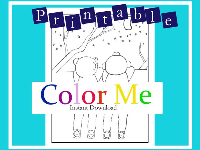 1_PRINTABLE | Starry night Baby Bears Coloring Sheet| Original art by Amelia