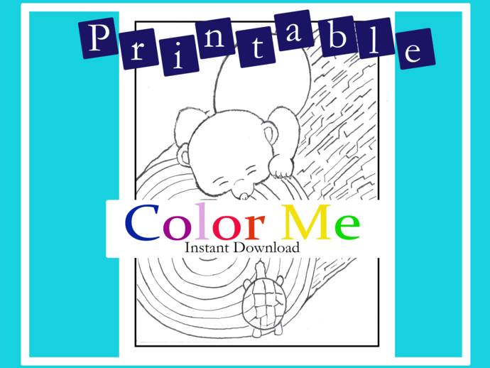 1_PRINTABLE |Baby Bear and turtle Coloring Sheet| Original art by Amelia Keith
