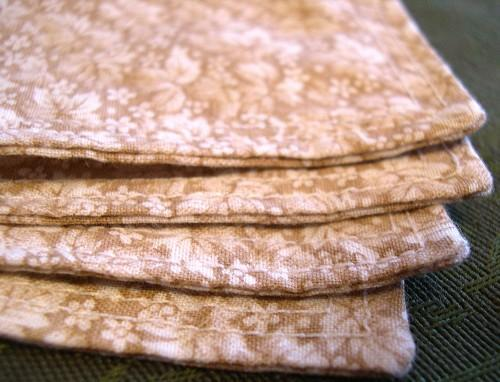 Classic Handkerchief Squares Eco Friendly Ecru Leaf Cotton Set of 2