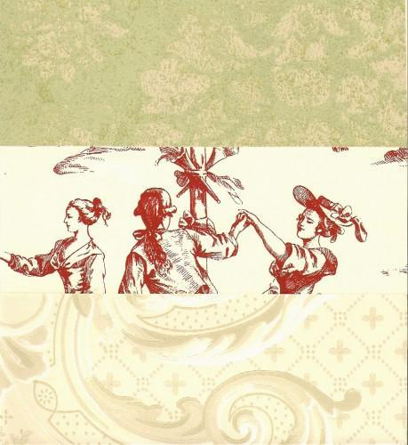 Toile and Damask Wall Paper 6x8 Sheets 12 Piece Supplies Packet