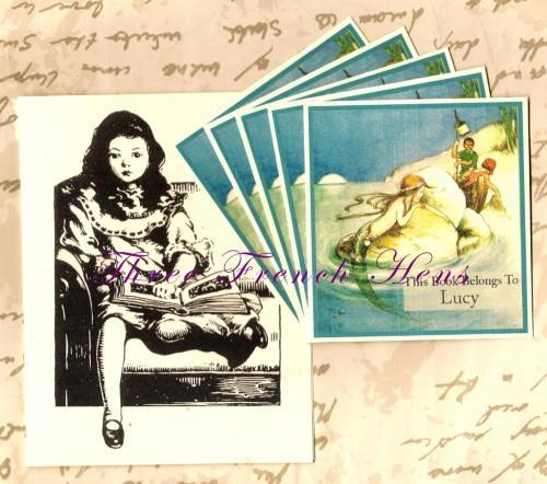 Shimmering Mermaid Personalized Book Plate Set of 24