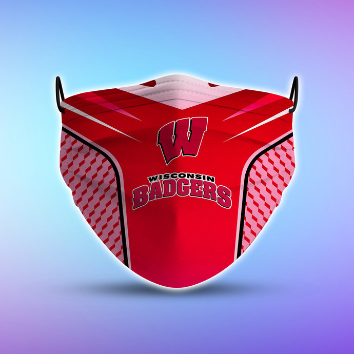 Wisconsin Badgers Style 5 Face Mask, Adult Face Mask, Sport Face Mask, Reusable