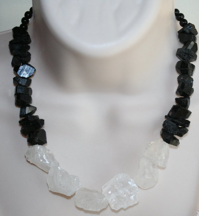 Raw Black Tourmaline Nugget Statement Necklace, Rough Clear Crystal Quartz