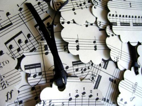 Vintage Sheet Music Gift Tags Set of 12 Embellishments Ornaments
