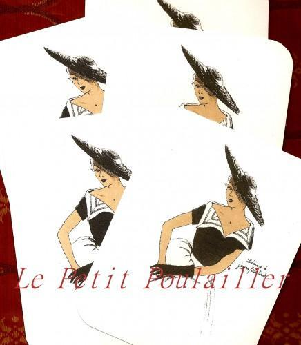 Paris Black and White Fashion Couture Stationery Note Flat Set