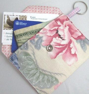 Classic Snap Wallet or Business Card Holder in Pink Peony Floral