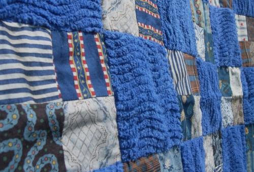 Hand Crafted Snuggle Lap Quilt In Royal Blue Cottons and Chenille