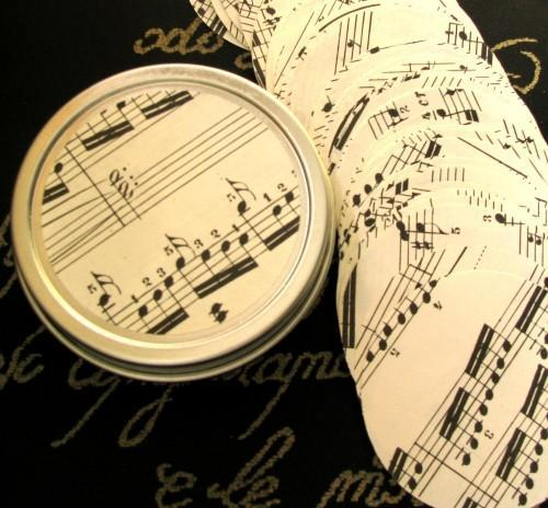 Vintage Sheet Music 1 Inch Die Cut Circle Punches Packet of 125