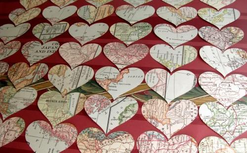Vintage Map Die Cut Hearts Packet of 50 Punches