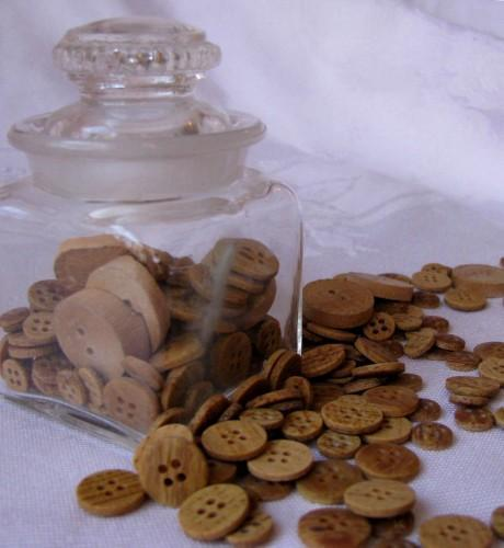 Faux Wood Button Assortment Packet of 45 in Three Sizes