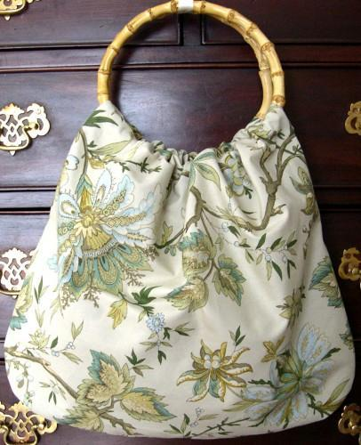 Purse or Project Tote In Fresh Green Sage Classic Ring Handle Style