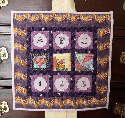 Hand Crafted Sampler Quilt Table Topper Wall Hanging, ABC and 123