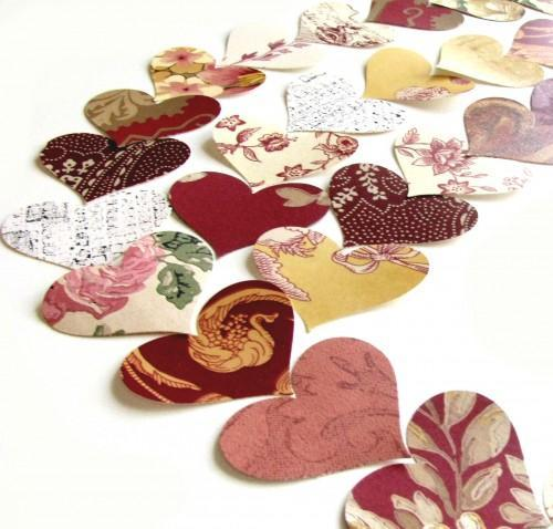Heart Punches in Reds 75 Piece Vintage Packet