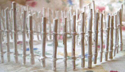 Handmade Pretend Play White Washed Fence 4 Feet Length