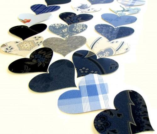 Blue Heart Vintage Wall Paper Die Cut Punches 75 Piece Packet